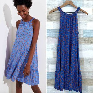 LOFT Floral Ruffle Tiered Swing Dress Blue Red